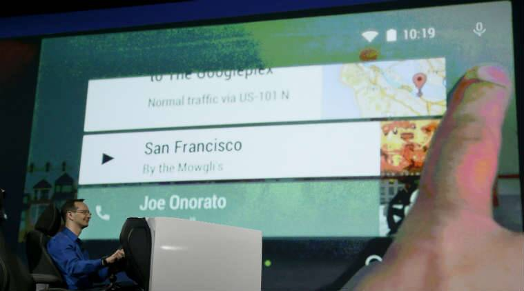 In this June 25, 2014 file photo, Android Auto is demonstrated during the Google I/O 2014 keynote presentation in San Francisco. (Source: Associated Press)