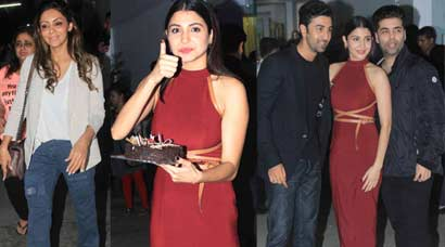 Anushka celebrates birthday with Gauri, Ranbir, KJo at 'Bombay Velvet' screening