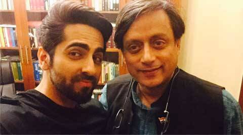 Ayushmann Khurrana, Congress MP Shashi Tharoor, Ayushmann Khurrana meets Shashi Tharoor, Ayushmann Khurrana Shashi Tharoor selfie, Ayushmann Khurrana with congress mp, Ayushmann Khurrana twitter, Vicky donor, Ayushmann Khurrana films, Ayushmann Khurrana photos, Ayushmann Shashi Tharoor sunday, bollywood, entertainment news