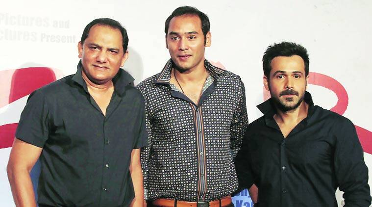 Md Azharuddin, his son Asaduddin and Emraan Hashmi at the release of the film's teaser.