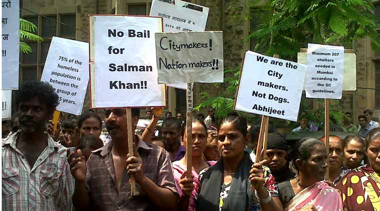 Protesters outside the court premises in Mumbai