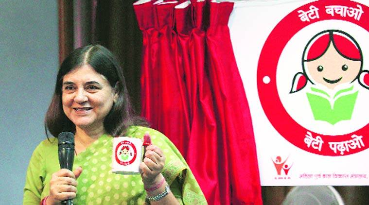 Maneka Gandhi launches WCD ministry's new logo. (Express Photo by: Renuka Puri) Maneka Gandhi launches WCD ministry's new logo. (Express Photo by: Renuka Puri)