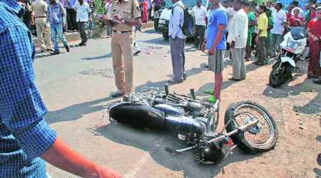 Bus knocks down motorcyclist, rams into three vehicles