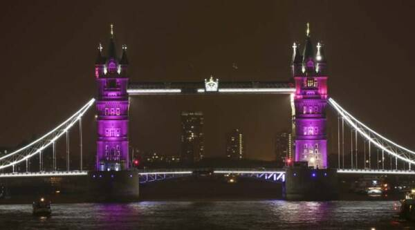 Famous British landmarks, including Tower Bridge, the London Eye and the fountains at Trafalgar Square, turned pink following the birth of the princess.(Source:AP)