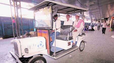 Golf cart at city railway station to ferry disabled, senior citizens