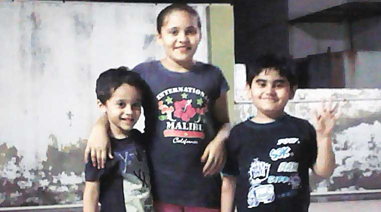 Muskan flanked by her brother Mohammed Hussain (left) and cousin Arshad; and (top) the bungalow which Zaveri bought is now razed