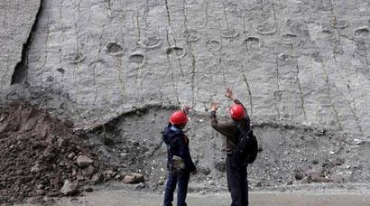 Dinosaur footprints at the Cal Orcko cliff in Bolivia