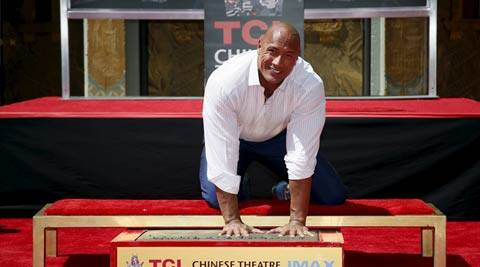 Dwayne Johnson leaves honoured with handprint ceremony