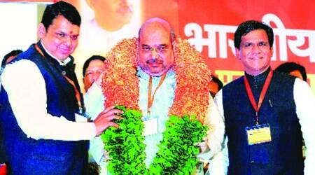 Shah, Fadnavis take  a swipe at ally Sena