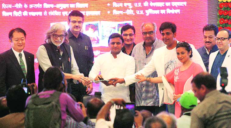 Chief Minister Akhilesh Yadav launches the website for Film Bandhu. (Source: Express photo by Vishal Srivastav)
