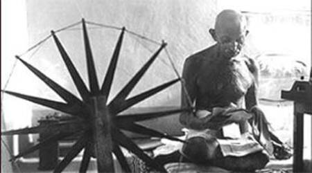 Mahatma Gandhi ashram at centre of row
