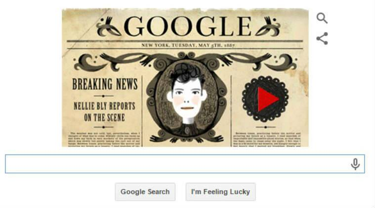 Nellie Bly, Nellie Bly doodle, google doodle, musical doodle, Elizabeth Jane Cochran, The Pittsburgh Dispatch, American journalist, American investigation journalist, google doodle 2015, doodle news, Technology,