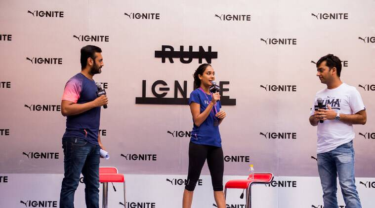 Actress Lisa Haydon with sports scientist Shyamal Vallabhjee at PUMA Ignite event in New Delhi (Source: Puma)
