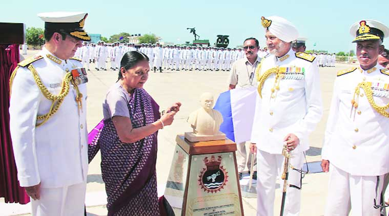Indian Navy, Porbandar port, indian military, INS Sardar Patel, Sardar Patel, Porbandar, Gujarat Chief Minister, Anandiben Patel, Congress, INS Dwarka, Okha, Navy chief,  Admiral R K Dhowan, Gujarat news, india news, nation news, news