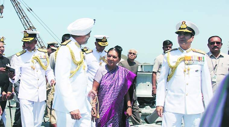 Indian Navy, Porbandar port, indian military, INS Sardar Patel, Sardar Patel, Porbandar, Gujarat Chief Minister, Anandiben Patel, Congress, INS Dwarka, Okha, Navy chief,  Admiral R K Dhowan, Gujarat news, ahmedabad news, city news, locla news, Indian Express