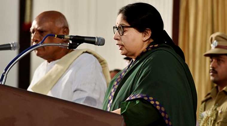 J Jayalalithaa taking oath as the chief minister of Tamil Nadu in the centenary hall of the University of Madras