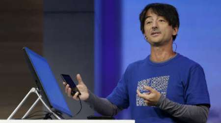 Joe Belfiore at the Windows 10 presentation during Microsoft's Build Conference. (Source: AP)