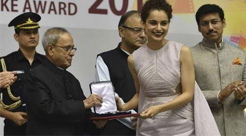 Kangana Ranaut, National Film Awards, Queen, Kangana ranaut national film awards, National Film Awards Kangana Ranaut, Kangana Ranaut Pranab Mukherjee, kangana ranaut queen, national film awards kangana, kangana ranaut films, kangana ranaut actress, kangana ranaut best actress award, Pranab Mukherjee honoured Kangana Ranaut, tanu weds manu returns, katti batti, kangana ranaut meena kumari biopic, bollywood News, Entertainment news