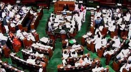 Parliament logjam, parliament disruption, nda government, Narendra modi, bjp, Congress, Lok sabha logjam, Bjp government, Congress MPs suspended, Lok Sabha MPs suspended, Sonia Gandhi, Mallikarjun Kharge, Sumitra Mahajan, india news, nation news