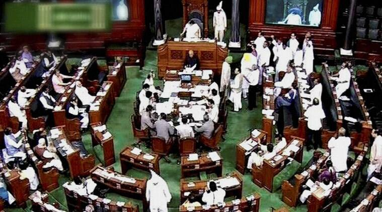 Speaker Sumitra Mahajan tried to conduct proceedings twice during question hour as TRS members parked themselves in the well and chanted slogans.