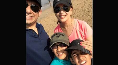 Madhuri Dixit on a morning walk with husband and sons Raayan, Arin