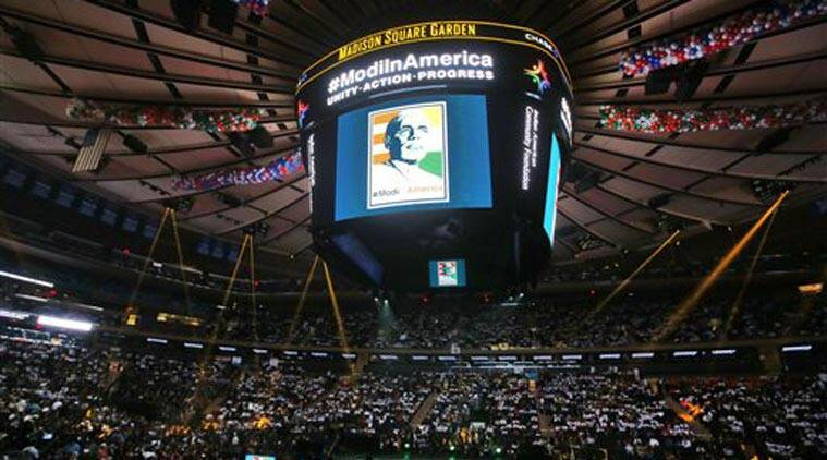 September 28, 2014. Narendra Modi at Madison Square Garden during his visit to the United States.