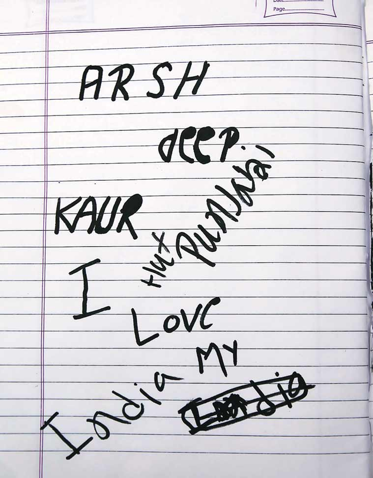 A page from the Arshdeep's notebook. (Source: Express photo by Gurmeet Singh)