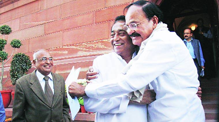 Venkaiah Naidu with the Congress's Kamal Nath in Parliament.