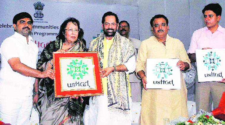 Najma Heptulla and MoS Mukhtar Abbas Naqvi at USTAD launch. (Source: PTI photo)