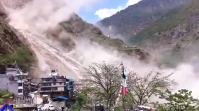 Landslide after earthquake caught on camera   Source  YouTube screen    Earthquake Landslide