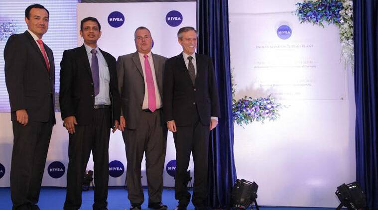 (L-R) Omar Navarro (Head of Manufacturing Near east and Far East), Rakshit Hargave, MD, Nivea India, Stefan De Loecker, Executive Board Member Beiersdorf AG and German Ambassador to India Michael Steiner at the opening of Nivea's plant at Sanand on Tuesday
