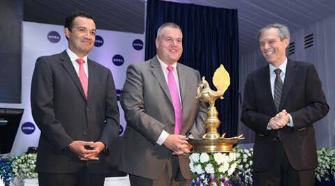 (L-R) Omar Navarro (Head of Manufacturing Near east and Far East), Stefan De Loecker, Executive Board Member Beiersdorf AG and German Ambassador to India Michael Steiner at the opening of Nivea's plant at Sanand on Tuesday