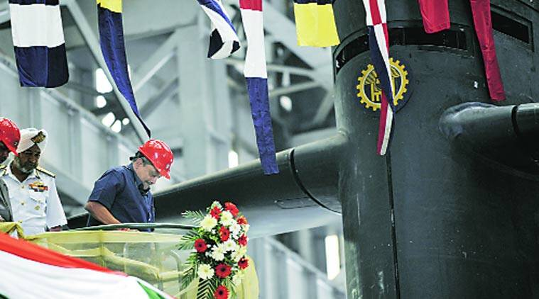 Minister Manohar Parrikar  at floating out ceremony for Scorpène submarine.