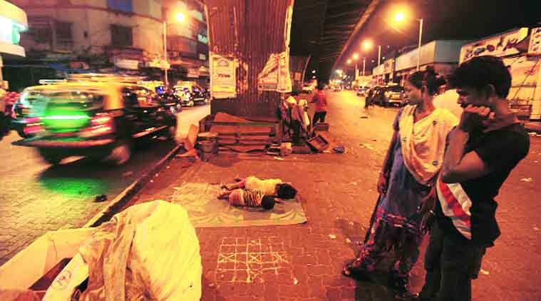 Heena and her husband at the spot under the JJ flyover where they sleep every night. (Source: Express photo by Vasant Prabhu)