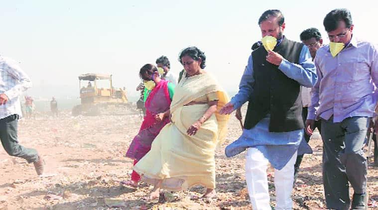 Prakash Javadekar during a visit to dumping grounds outside Mumbai. (Source: Express photo by Deepak Joshi)