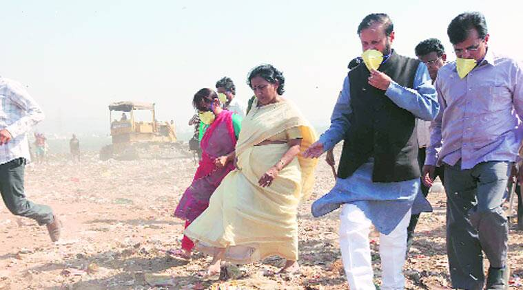 Prakash Javadekar during a visit to dumping grounds outside Mumbai. (Source: Express photo by Deepak Joshi)