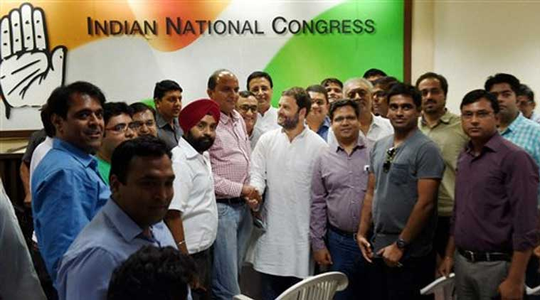 AICC Vice President Rahul Gandhi in a meeting with representatives of organizations of home/flat buyers in Delhi-NCR region, at AICC office in New Delhi on Saturday. (Source: PTI)