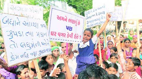displaced family rally, rally, VMC, rehabilitation, VMC demolition drive , ahmedabad news, city news, local news, gujarat news, Indian Express