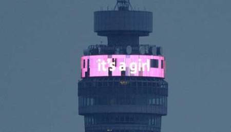 Britain turns pink to mark princess' birth