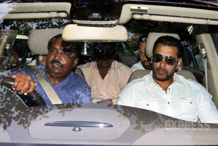 Salman Khan was in white shirt and trousers. (Source: Express photo by Amit Chakravarty)