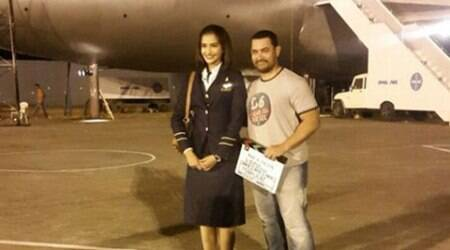 Aamir Khan visits Sonam Kapoor on the sets of 'Neerja'
