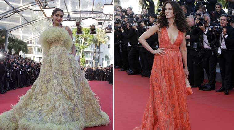 sonam kapoor, actress sonam kapoor, sonam kapoor at cannes 2015, cannes 2015, cannes film festival, cannes film festival 2015, sonam at cannes film festival, sonam cannes, sonam cannes 2015, Andie MacDowell, sonam kapoor Andie MacDowell, sonam Andie MacDowell, sonam kapoor gift, entertainment news