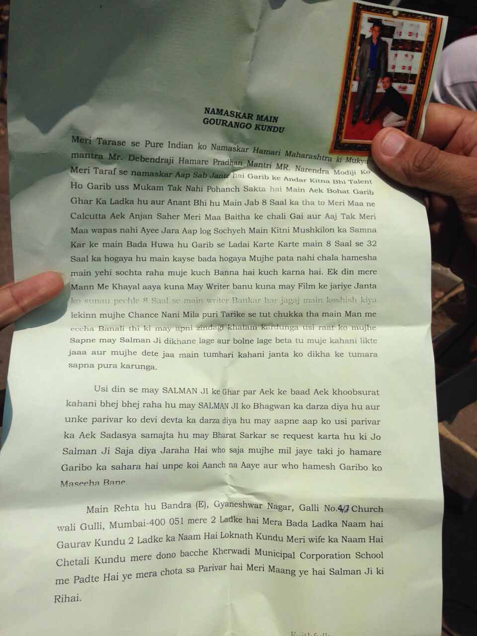 A suicide letter of Salman Khan's fan who attempted suicide outside the court today