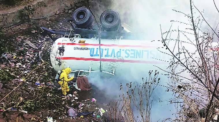 Tanker carrying liquid ammonia overturns in Thane | Cities News, The