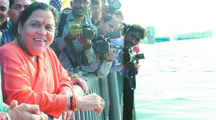 Uma Bharti on the Sabarmati in Gujarat. (Source: Express photo by Javed Raja)