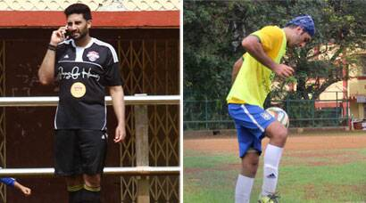 Ranbir Kapoor plays football with friend Abhishek Bachchan