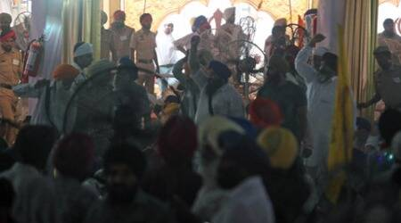 Rajnath Singh greeted with protest by SAD activists at Anandpur Sahib