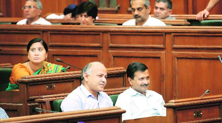 CM Kejriwal and deputy Sisodia at the recent special session. BJP plans demonstrations from day one. (Source: Express photo)