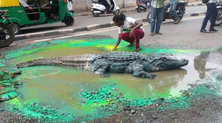 Bangalore artiste, Artist Baadal Nanjundaswamy, Bangalore artiste Baadal, Baadal crocodile, BBMP officials, Bangalore latest news, India latest news