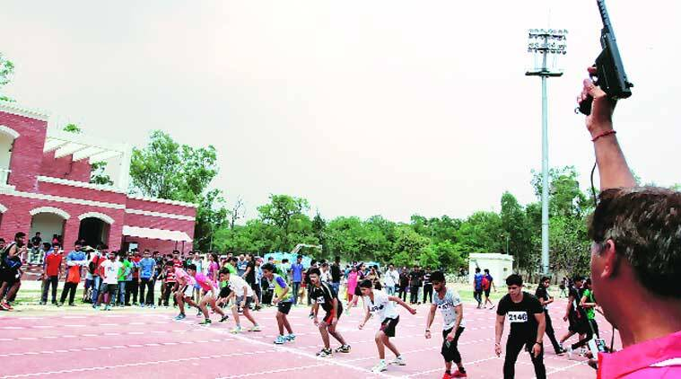 3,500 students thronged Delhi University's centralised test for sports quota places on Thursday. (Source: Express photo by Ravi Kanojia)